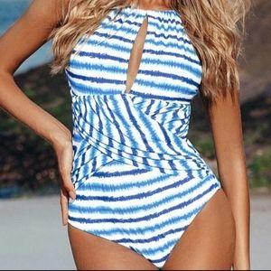 Cupshe Blue Watercolor Stripe One-piece Swimsuit M